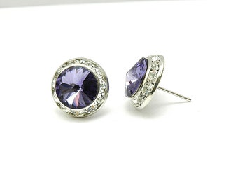 Lilac Stud Earrings, Purple Swarovskci Crystal Earrings, Rhinestone Lavender Earrings, Silver Small Earrings, Violet Crystal Earrigs, Prom