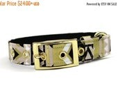 ON SALE Dog Collar with Metal Buckle- Gold, Tan, White and Black Tribal Print