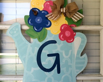 Welcome Flower Door Hanger / Watering Can / Floral / Initial / Personalized
