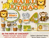 Safari Baby Shower Decorations, Jungle Baby Shower - Party Supplies, Favor, Banner, Cake Topper, Cupcake, green, yellow, orange