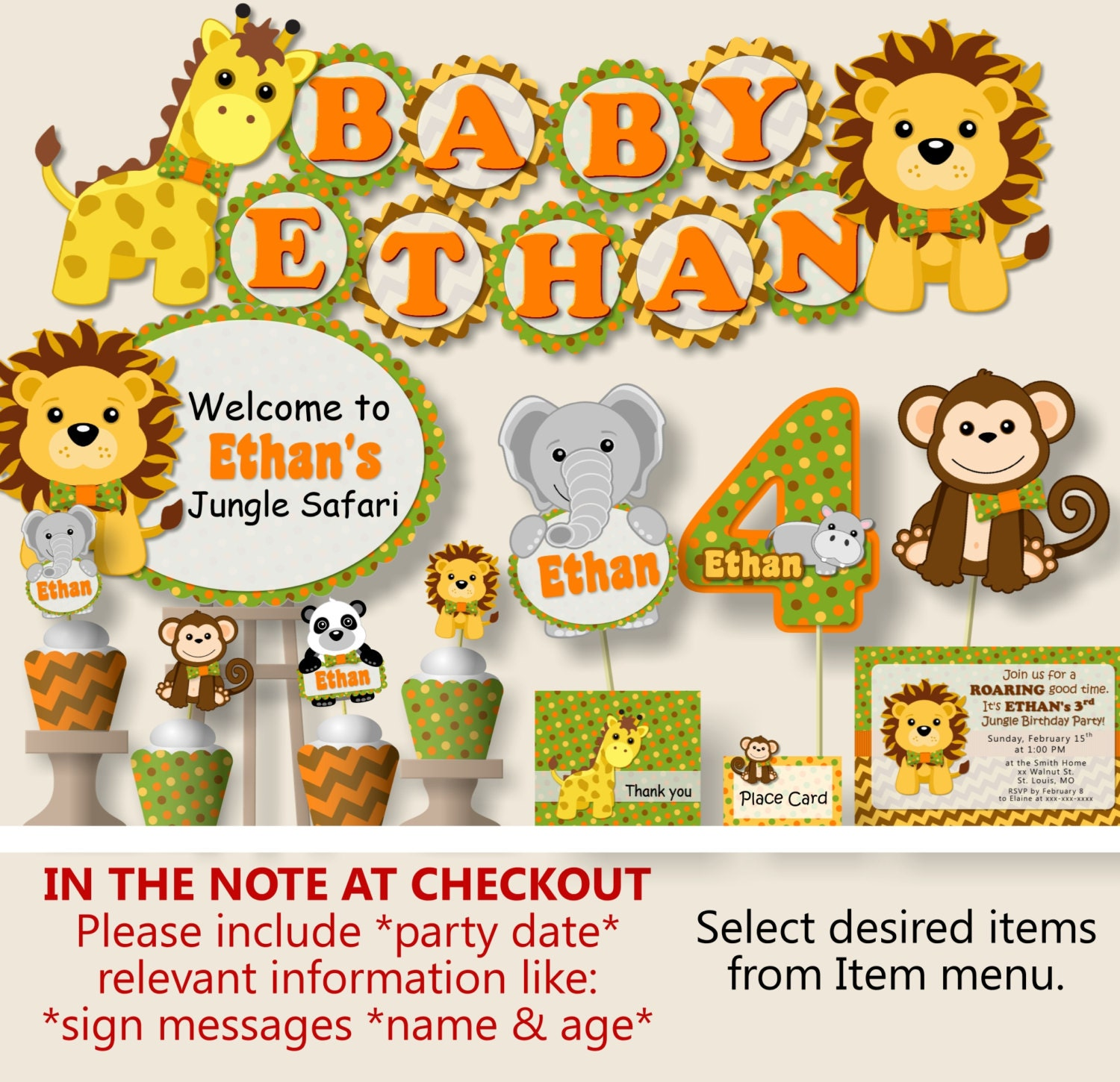 Jungle Baby Shower Decorations: Safari Baby Shower Jungle Baby Shower Decorations