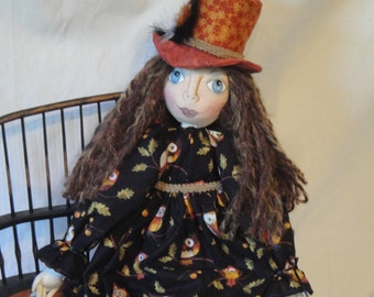 OOAK Folk Art Doll, cloth art doll, doll with owl dress, hand made art cloth doll, cloth doll Fall Autumn art doll, doll owl dress