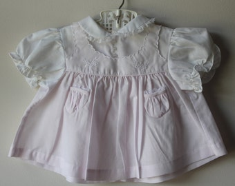 Vintage Baby Girl Pink and White Embroidered Dress Vintage Summer Baby Dress by Friedknit Creations Vintage Pink Baby Dress