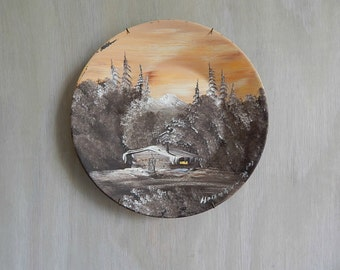 winter landscape painting    vintage painting on metal bowl wall hanging   rustic woodland home cabin decor