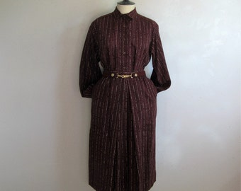 80s ESCADA Vintage Suit Dress Burgundy Stripe 2 pc Light Wool Blouse Skirt 1980s Designer Suit 42