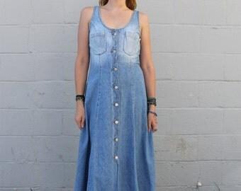 Vintage 1990's Guess Jean Denim button down maxi dress