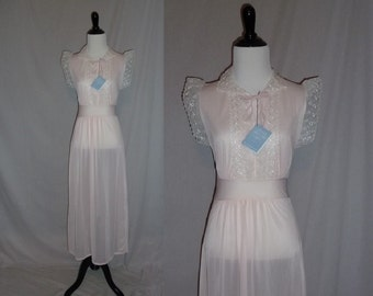 60s Pale Pink Nightie - Deadstock Unworn w/ Tag - White Embroidered Trim - Sheer Nylon - Montgomery Ward - Vintage 1960s - XS 32