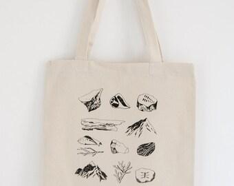 screen print cotton tote bag / eco friendly bag / nature screen print  / market bag
