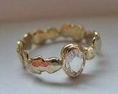 Diamond Engagement Ring Size 7 1/2 Unique Engagement Ring 18K Rose Cut Diamond Ring Diamond Promise Ring Pebble Organic Band Handmade OOAK