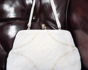 Vintage Frame Kisslock~White Ivory~ART DECO~Micro Petit Point & Glass~Rhinestone Accent~Beaded Evening Bag by Debbie
