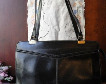 Rare Vintage MIMO SACS~Black Leather Small Business Brief~Boxy Handbag~Made in TORANTO Canada