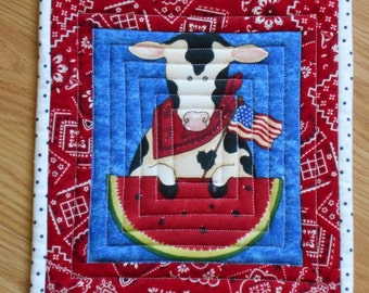 COUNTRY PICNIC MUGRUG or Snack Mat Quilted in Red White Blue measuring approx 9 x 10 Flag Watermelon Holstein Cow and Bandana Fabric