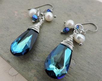 Wedding Dream/ Bride/ Bridesmaids/ Something Blue White Cultured Freshwater Pearl, Clear AB Swarovski Bicone, and Swarovski Drop Earrings