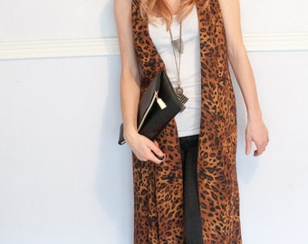 cute leopard print duster layering piece, small