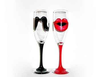 His and Hers Mustache and Lips Hand Painted Wedding Chmapgne Flutes Set of 2 - 6 oz. Toasting Flutes Red Lips Black Mustache Anniversary