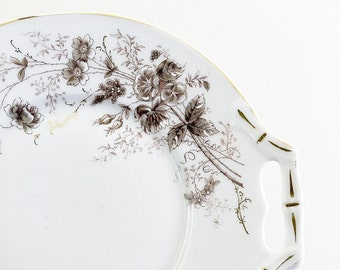 Antique Aesthetic Design Canape Plate Vintage Serving Platter Brown Transferware With Hand Painted Accents Victorian Edwardian Decor