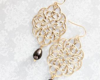 Gold Filigree Earrings Chocolate Brown Pearl Big Filigree Dangle Large Gold Chandelier Dark Brown Pearl Drop Bridal Jewelry Bridesmaids Gift