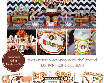 Thanksgiving Birthday Party | Thanksgiving Printable | Thanksgiving Party | Fall 1st Birthday | Pumpkin Party | Amanda's Parties To Go