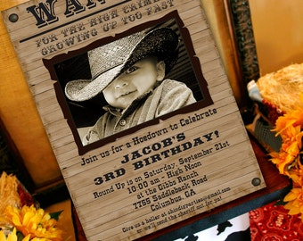 Cowboy Birthday Invitation | Cowboy Western Party Invitation | Wanted Poster 1st Birthday | Cowgirl Invitation Printable | Amanda's Parties