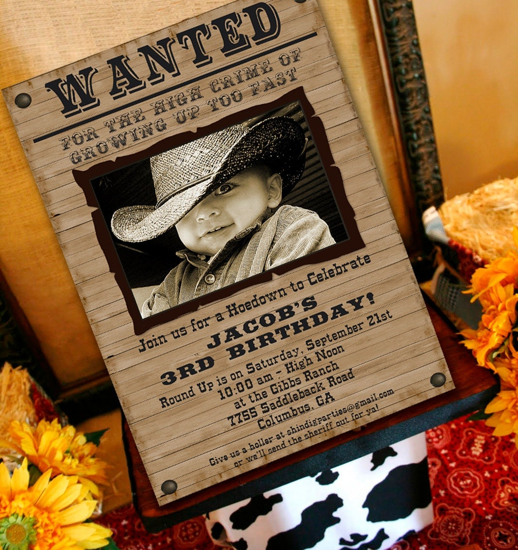 Cowboy Birthday Invitation Cowboy Western Party Invitation – Wild West Party Invites
