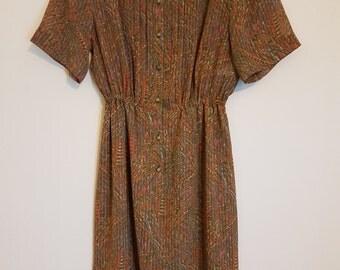 Vintage 1980's brown, orange and khaki floral Japanese day dress