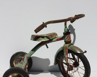 Vintage Tricycle Trike Pedal 3 Wheel Bike Metal Red Green Original Painty Peely Distressed Shabby Style Garden Porch Decor Photo Prop