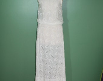 Antique Vintage Ivory Cotton Eyelet Long Sleeveless Dress Wedding Dress Garden Party Dress Victorian Edwardian Deco