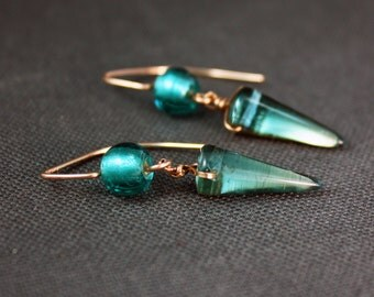 Rose Gold Filled Earrings with Aqua Flickering Spikes Free US Shipping