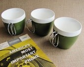 N.F.C. Coffee Cups 1962 Avocado Green THREE Insulated Plastic Mugs Steel Handle For Camping Travel Trailers