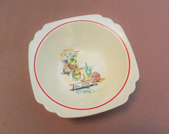 Rare Homer Laughlin Hacienda Serving Bowl Large 8 1/4 Decal Ware Nappy Vegetable Bowl Vintage 1940s Pottery Dishes