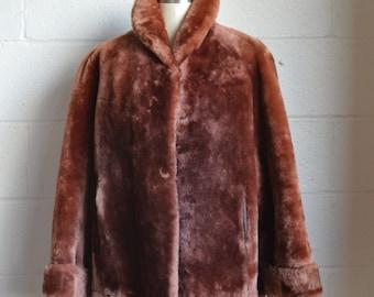 Vintage Mouton Coat Mouton Fur Jacket Light Brown Mouton 1950s Fur Jacket with Stripe Lining Good Condition Very Warm Winter Jacket Size