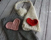Heart Patch Crochet Baby Pants  and Pixie Hat Set - Valentine Photography Prop Pants - Heart Patch Pants and Hat - by JoJo's Bootique