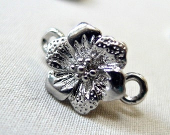 4 Silver Magnetic Clasps, 12mm flower design, package of four clasps