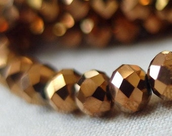 "4mm Antique Gold Faceted Crystal Beads, 4mm x 3mm, 20"" strand, 150 beads"
