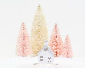 Valentine Putz House DIY Kit Cottage Glitter House Decoration Paper Craft Kit Winter Home Decor Winter Wedding Decor