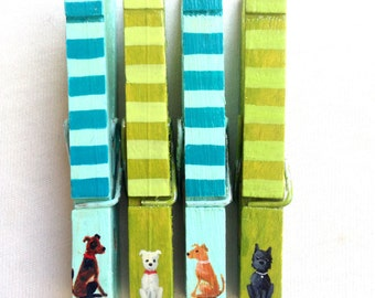 TINY DOG CLOTHESPINS hand painted magnetic turquoise and green