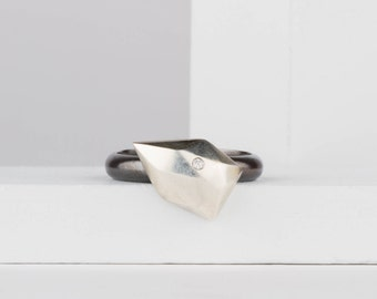 Small Angled Fragment Ring in Sterling Silver with Diamond - Faceted Silver Ring - Geometric Ring - As seen in New York Times