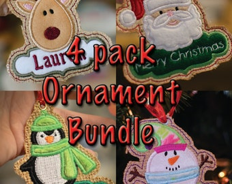Instant Download In-the-hoop SPECIAL 4 Pack BUNDLE CHRISTMAS tag / Tree Ornament applique embroidery design