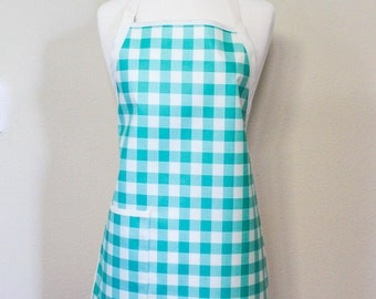 LAST ONE Womens Waterproof Utiltity Apron Crafters Apron in Cream and Teal Gingham