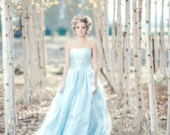 Blue Wedding Dress Silk Ballgown, MONET, Tulle Skirt, Blush Ivory White Lavender Many Colors