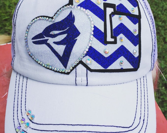 High School Team Colors Baseball Cap, Varsity Chevron Letter with Mascot Heart Sports Rhinestone Bling, Women's Baseball Trucker Cadet Cap