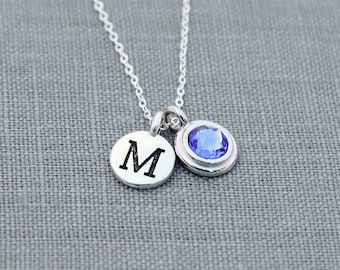 Mother Necklace with Birthstone, Personalized Initial Jewelry, New Mom Gift, Push Present, Initial Necklace Sapphire September Birthday Gift
