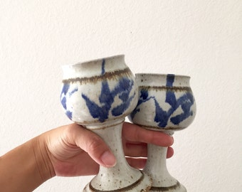 pair of stoneware goblets / blue