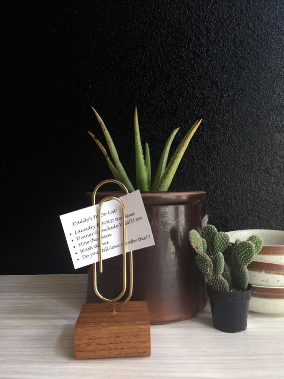 """8.5"""" large vintage brass paperclip photo stand with wood base / office file storage"""