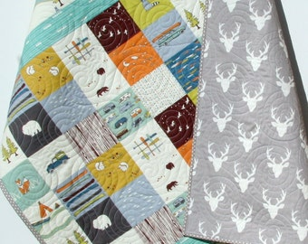 Baby Boy Organic Quilt, Camp Sur Patchwork Blanket, Hiking Canoe Fox Forest Woodlands, Camping Tent, Boy Girl Bedding, Buck Forest Stag Deer