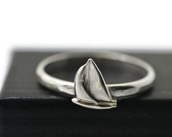 Sterling Silver Ship Ring, Handmade Silver Ring, Sailboat Ring, Nautical Ring
