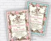 Alice in wonderland invitation, Bridal Shower OR Baby Shower , Bridal, baby invitation Shabby Chic wedding newbaby Invitation - card 766