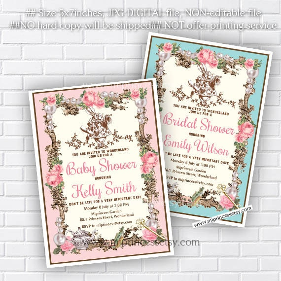 alice in wonderland invitation bridal shower or baby shower bridal