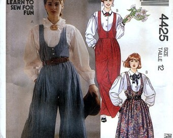 McCall's 4425 Vintage 80s Misses' Jumpsuit, Jumper and Blouse Sewing Pattern - Uncut - Size 12 - Bust 34