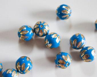SALE Deep Blue floral spheres - Floral Cloisonné Meena beads (2) 12mm